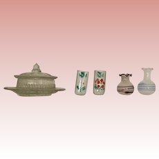 German, Vintage Dollhouse Glass Items