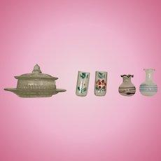 German, Vintage Dollhouse Glass Items