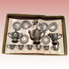 English, Miniature, Metal Tea Set