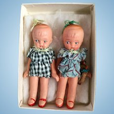 Japanese, Painted Bisque Twin Girls