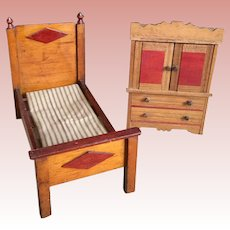 Doll Size Bed and Dresser