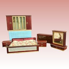 German, Wood Dollhouse Bedroom Set
