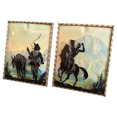Pair of Reverse Paintings of Indians and Cowboys