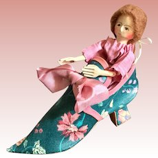 Judy Brown Wood Doll in A Shoe