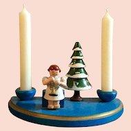 German, Christmas Wood Scene, Candle Set