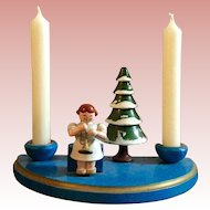 German, Christmas Wood Scene, Candle Set