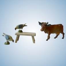 Miniature, German, Milking Stool and Farm Animals