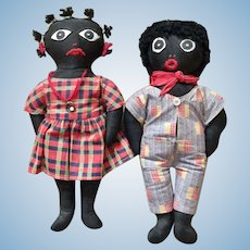 Pair of Black Dolls by Southern Darky Dolls
