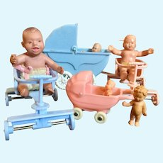 Miniature Hard Plastic Baby Buggies
