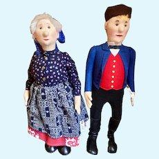 Pair of Steiff Peasant Dolls