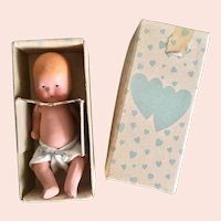 Kerr & Hinz, Painted Bisque, Baby in Original Box with High Chair