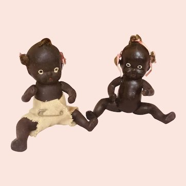 Pair of Black Composition Babies
