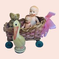 German Miniature Bed/ Buggy with Babies etc