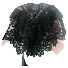 Victorian, Black Glass, Jet Beaded Collar