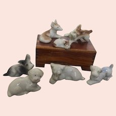 Grouping of Bisque Miniature Dogs