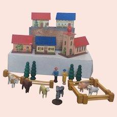Miniature, German, Wood and Cardboard Village
