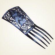 Victorian Hair Comb Black Celluloid Mourning With Black Rhinestones