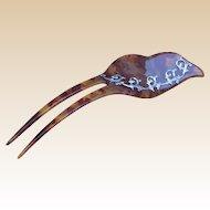 Vintage Hair Comb Faux Tortoiseshell Leaf Shape Hair Accessory