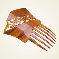 Vintage hair comb Victorian openwork hair accessory (AAO)
