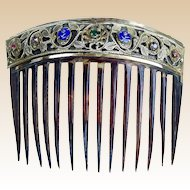 Antique Hair Comb Biedermeier Tortoiseshell and Pierced Brass with Embellishments.