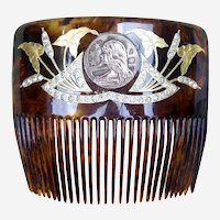 Art Nouveau Hair Comb Gilded with Inset Coin Hair Accessory