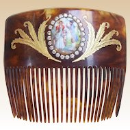 Gold inlaid Victorian back comb with ceramic pastoral scene hair accessory