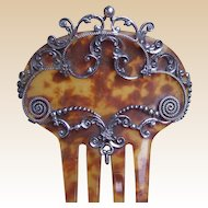 Victorian hair comb mantilla style with silver tone metal overlay hair accessory