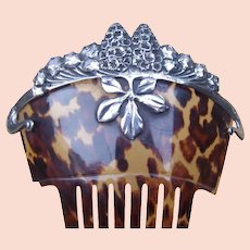 Victorian hair comb faux tortoiseshell with silver overlay hair accessory
