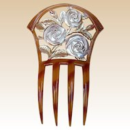 Art Nouveau Hair Comb with Carved Roses Design Hair Accessory