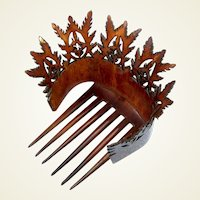 Victorian Hair Comb Natural Steer Horn Unusual Spiky Hair Accessory
