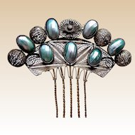 Spanish Hair Comb Gilt Metal Filigree and Mother of Pearl Summer Bridal Hair Accessory