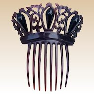Victorian Mourning Hair Comb Steer Horn French Jet Spanish Hair Accessory