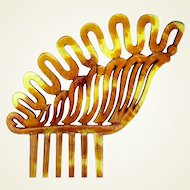 Victorian Hair Comb Asymmetric Steer Horn Hair Accessory