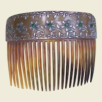 Antique Hair Comb Faux Tortoiseshell Gilded Rhinestone Hair Accessory