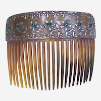Antique Hair Comb Faux Tortoiseshell Gilded Rhinestone Hair Accessory