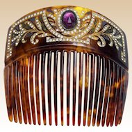 Victorian Faux Tortoiseshell Hair Comb with Rhinestone Trim Hair Accessory