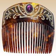 Victorian Faux Tortoiseshell Hair Comb with Rhinestone Trim Hair Accessory