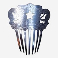 Spanish Hair Comb Victorian Pierced and Engraved Steel Hair Accessory