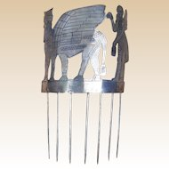 Unusual Archaeological Hair Comb Assyrian Style with Winged Bull and Figure