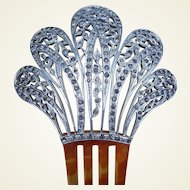 Large Aluminum Hair Comb Late Victorian Hair Accessory