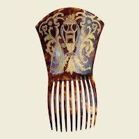 Victorian Faux Tortoiseshell Spanish Mantilla Style Comb with Gilding Hair Accessory