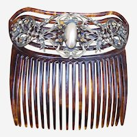 Antique Faux Tortoiseshell Hair Comb with Mother of Pearl Hair Accessory