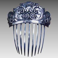 Early Victorian Hair Comb Repousee Silver Plate Hair Accessory