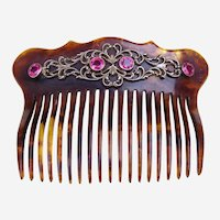 Faux Tortoiseshell Hair Comb Embellished with Pink Stones Hair Accessory