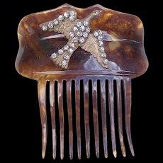 Victorian Faux Tortoiseshell Hair Comb with Figural Rhinestone Bird