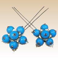 Victorian blue blown glass hair pins or hair combs floral design hair accessory