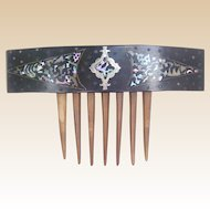 Victorian Hair Comb Pique and Mother of Pearl Inlay Hair Accessory