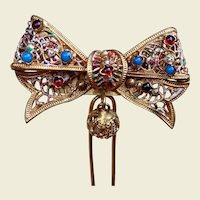 Goldtone Filigree Hair Pin Comb Multi Coloured Stones Hinged Hair Accessory