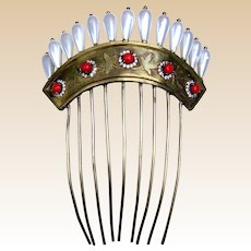Georgian Hair Comb with Faux Pearls and Paste Stones