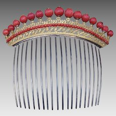 Georgian Hair Comb Fire Gilt Brass with Carved Coral Cabochons